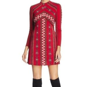 Free People Stella Red Long Sleeve Dress